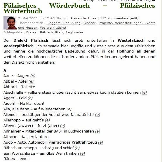 Pälzisches Wörderbuch – Pfälzisches Wörterbuch  http://weinfachberater.der-ultes.de/2009/05/02/paelzisches-woerderbuch-pfaelzisches-woerterbuch