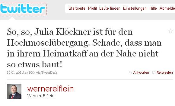 Twitter - Werner Elflein- So, so, Julia Klöckner ist ...