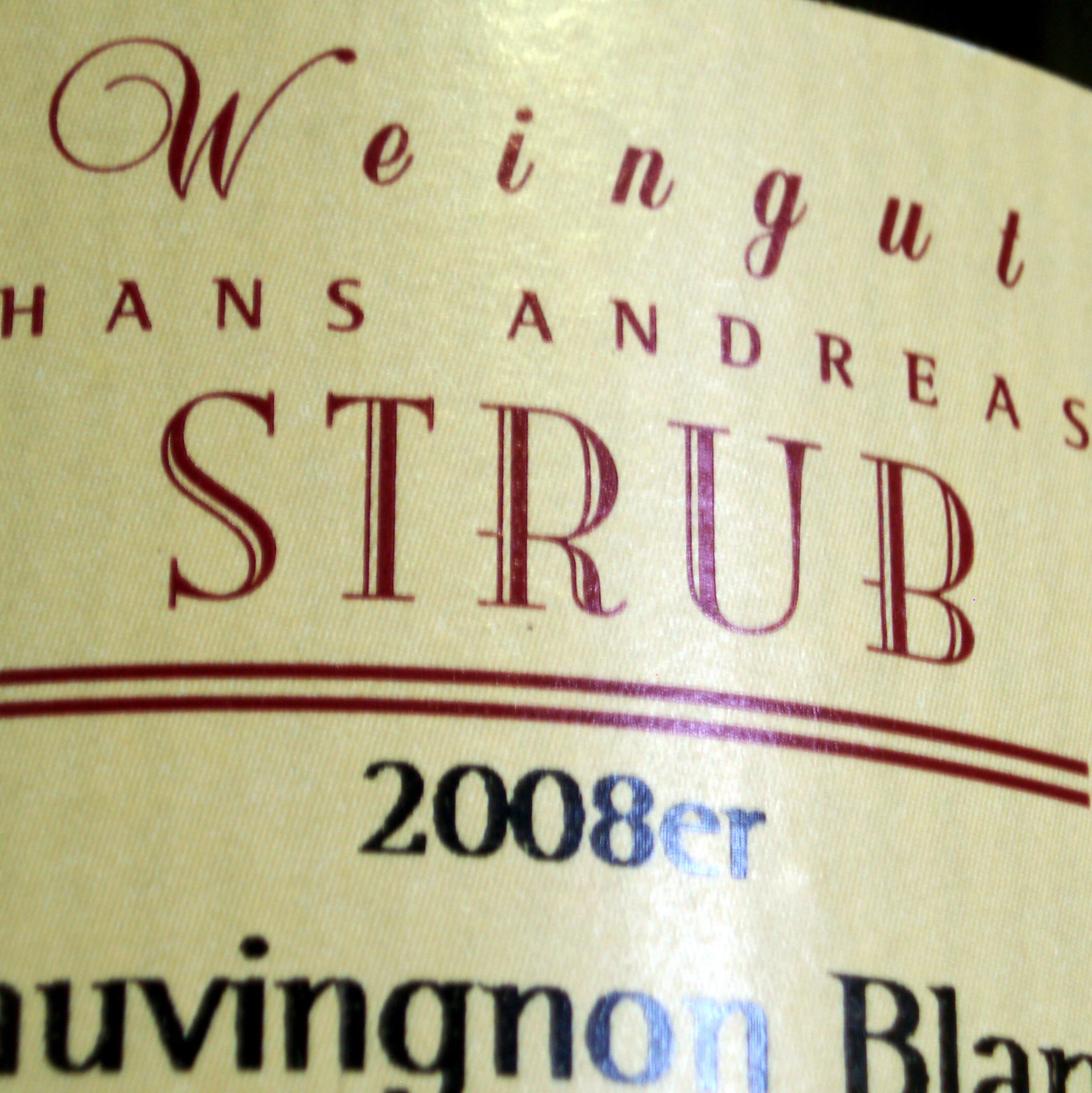 2008 Sauvignon Blanc Spätlese trocken Weingut Hans Andreas Strub Nierstein thumb